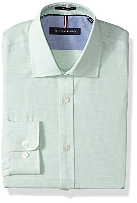 fbc772741 Lyst - Tommy Hilfiger Dress Shirts Non Iron Slim Fit Check in Green ...
