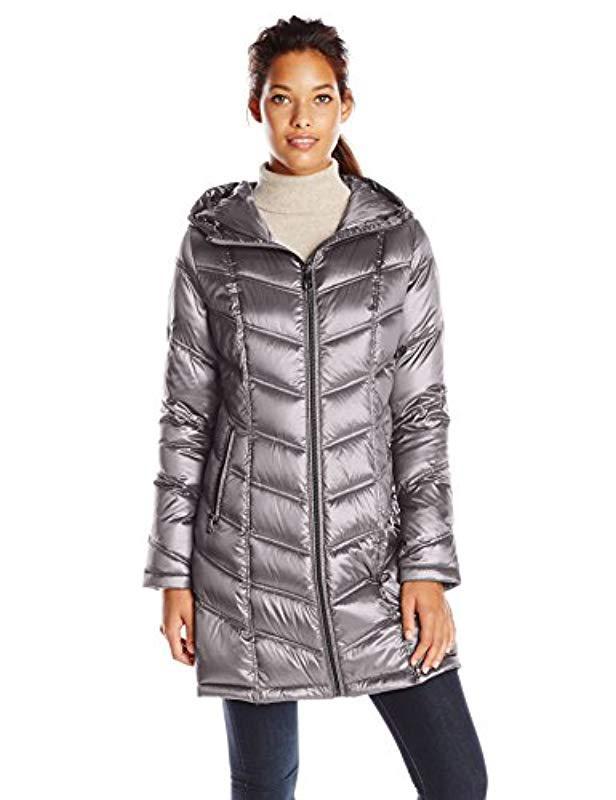 4471e69a43d Lyst - Calvin Klein Mid-length Packable Chevron Down Coat - Save 43%