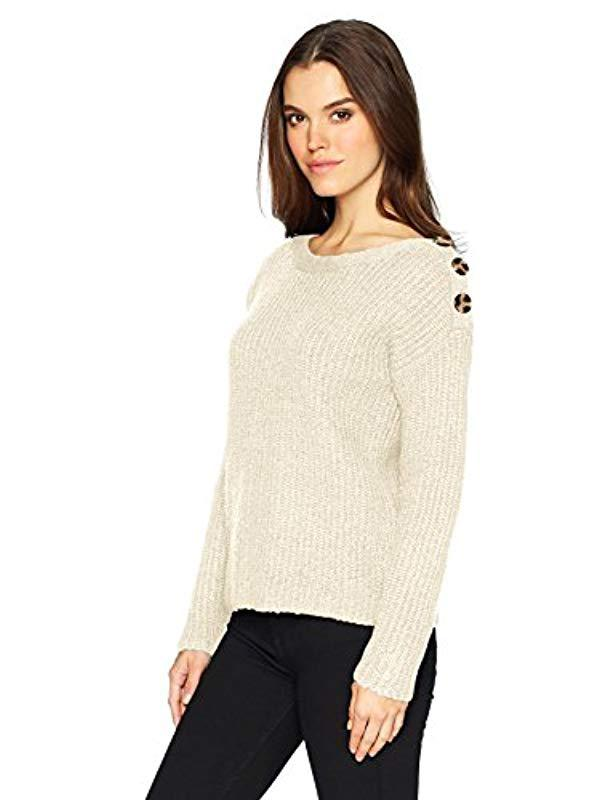 73143935e8 Lyst - Kensie Punk Yarn Sweater With Button Detail in Natural - Save 82%