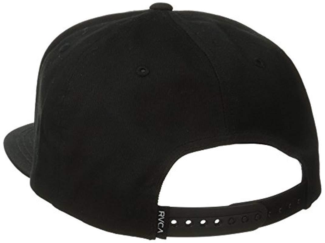 online store 4a8f5 eb4e8 RVCA - Black Twill Snapback Six-panel Trucker Hat for Men - Lyst. View  fullscreen