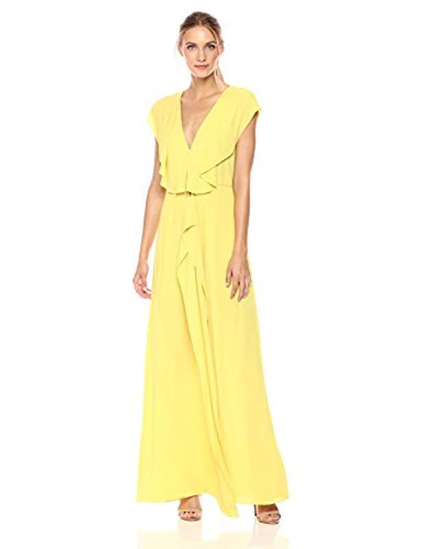 BCBGMAXAZRIA. Women s Yellow Bcbgmax Azria Evette Woven Ruffle Dress 447f5d8d0