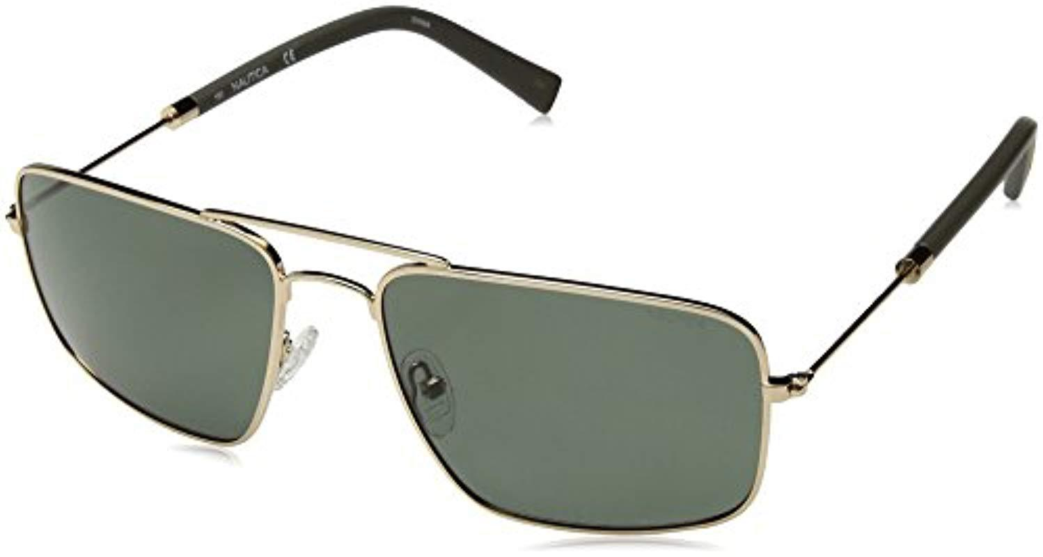 bdb3da3096 Nautica. Men s Metallic N4632sp Polarized Aviator Sunglasses Gold 59 Mm