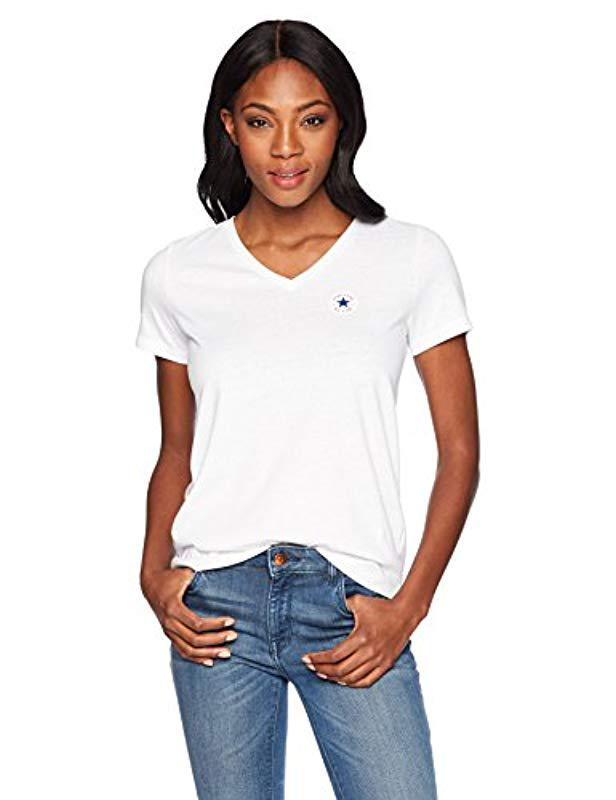 c4657b5f9b6cc2 Lyst - Converse Chuck Patch Short Sleeve V Neck T-shirt in White ...