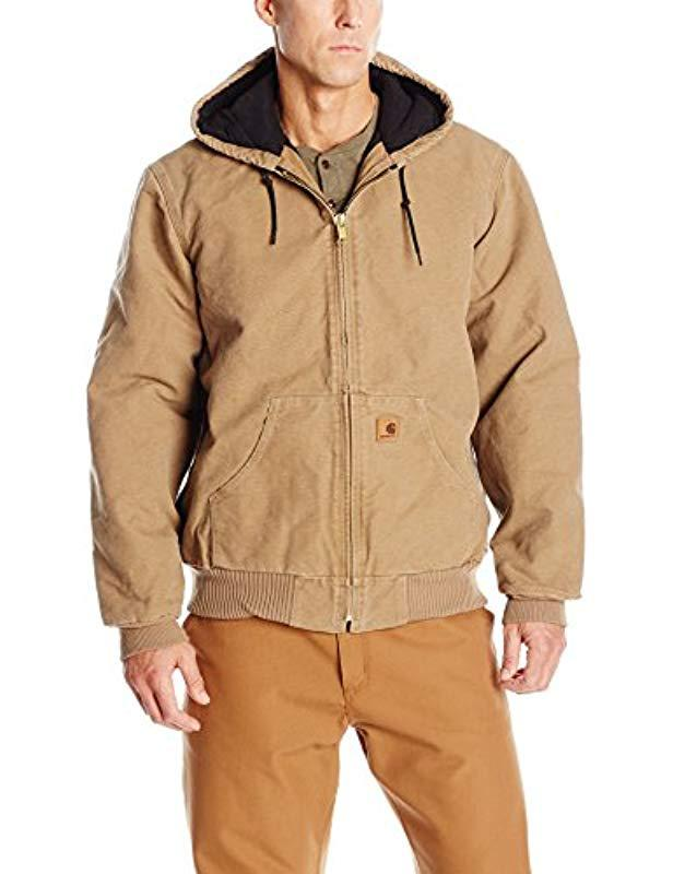 df71ee2131350 Carhartt. Men s Brown Big   Tall Quilted Flannel-lined Sandstone Active  Jacket J130