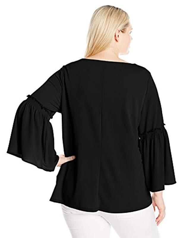 a5a56d82b8e Lyst - Calvin Klein Plus Size Flutter Sleeve Top With Hardware in Black -  Save 53%