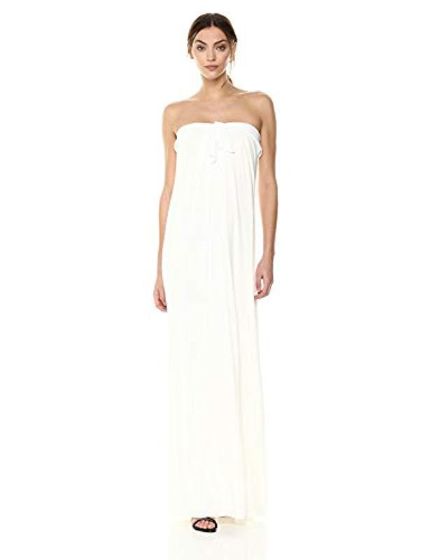 2cffc7e024d2 Lyst - Halston Strapless Front Tie Detail Gown in White