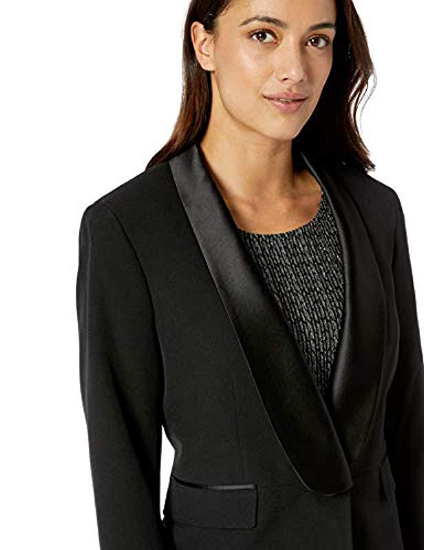 8eddbf70f2421 Lyst - Kasper 1 Button Shawl Collar Crepe Black Satin Tuxedo Jacket in Black