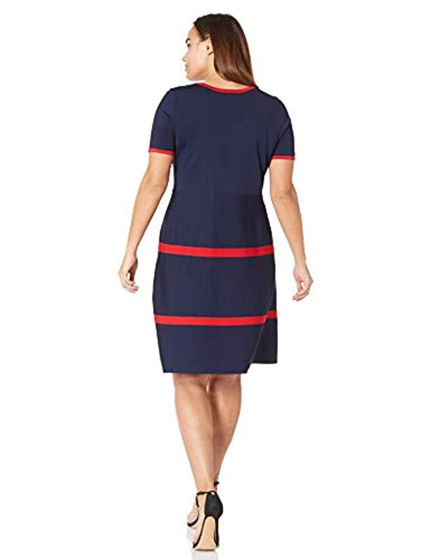 6a3ec1e1d3 Lyst - Anne Klein Size Plus Fit And Flare Sweater Dress in Blue