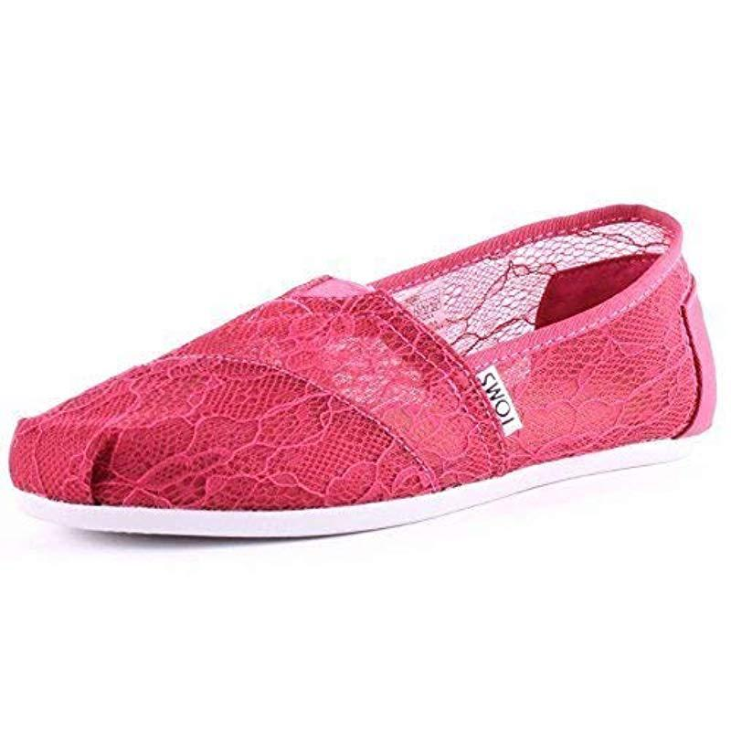 8860519d517 Lyst - TOMS 10007858 Natural Moroccan Crochet Alpargata Flat in Pink