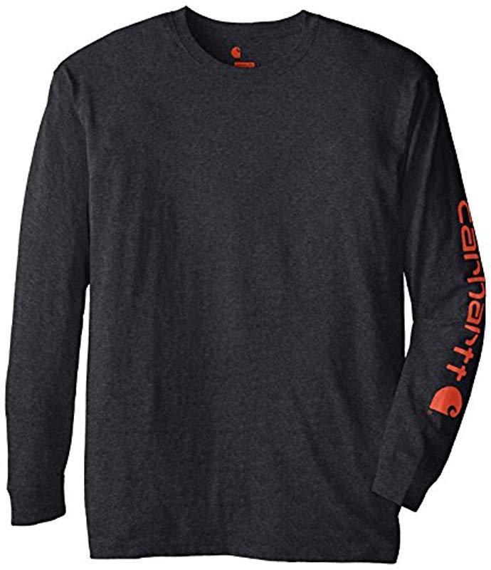 954f87bb4 Lyst - Carhartt Big & Tall Signature Sleeve Logo Long Sleeve T-shirt ...