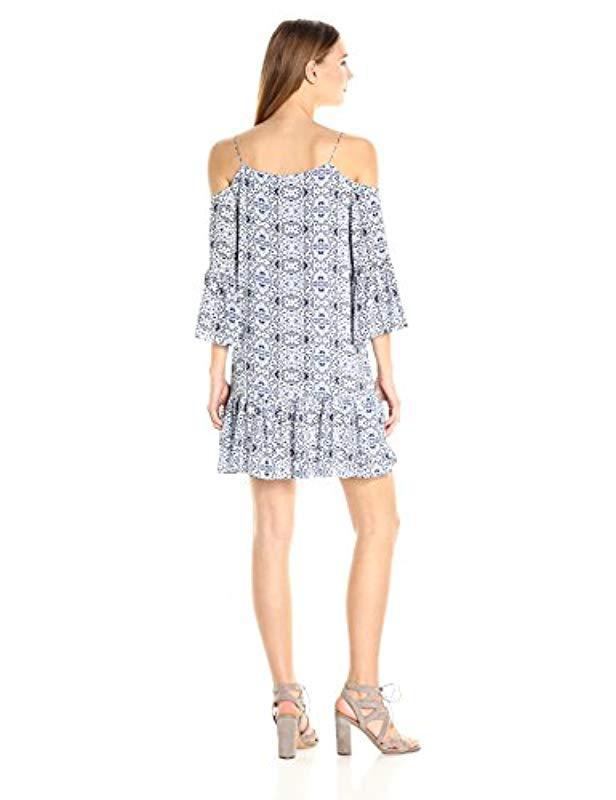 6f79d368bd1059 Lyst - Cooper   Ella Mirella Cold Shoulder Dress in Blue