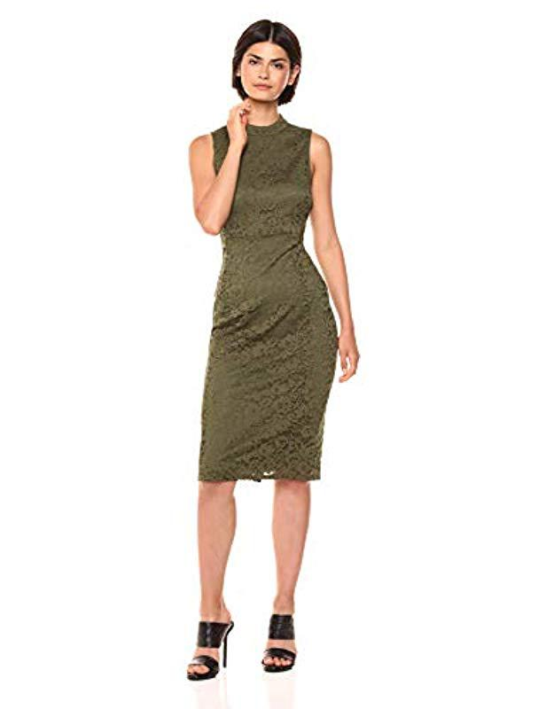 4c89de41f42a4 Nine West - Green Mock Turtleneck Sleeveless Sheath Dress - Lyst. View  fullscreen