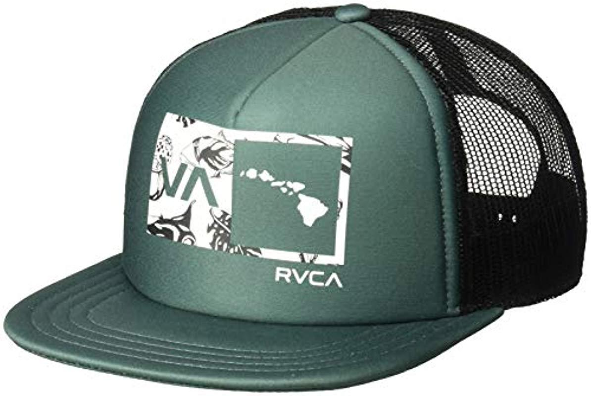 ec6dadba186 Lyst - RVCA Islands Balance Box Trucker Hat in Green for Men - Save 13%