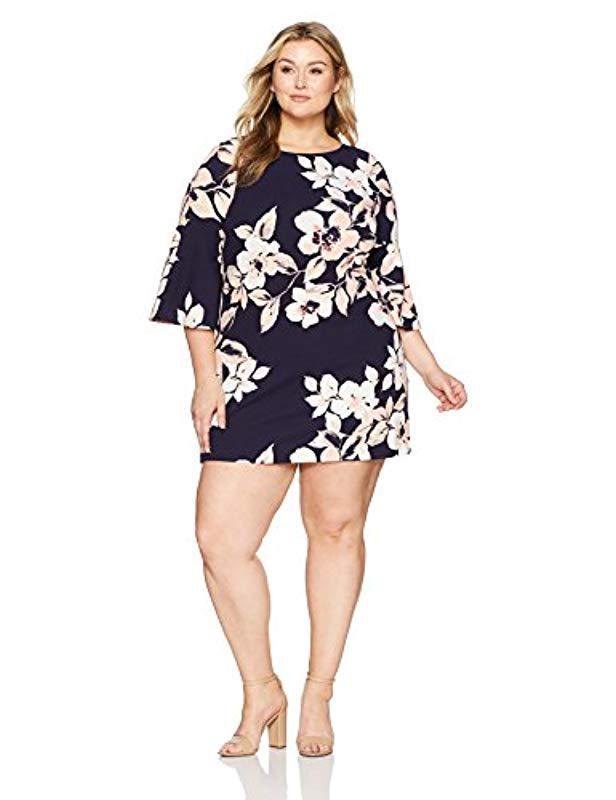 0e291ef529d Lyst - Eliza J Plus Size Bell Sleeve Floral Dress in Blue