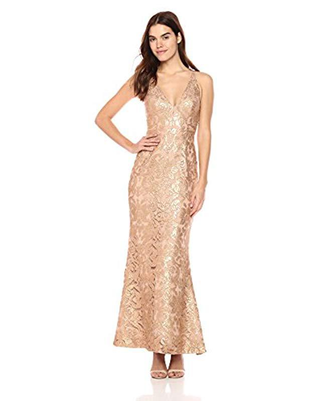 dad0d7a0 Lyst - Dress the Population Karen Plunging Lace Gown in Metallic