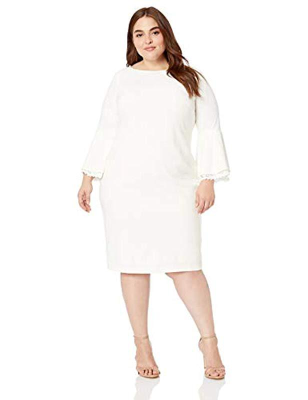 e8a02ec422c Lyst - Calvin Klein Plus Size Lace Trim Bell-sleeve Sheath Dress
