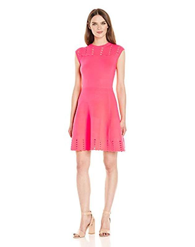 014ad415cb Lyst - Ted Baker Zaralie Jacquard Panel Skater Dress in Pink - Save 42%