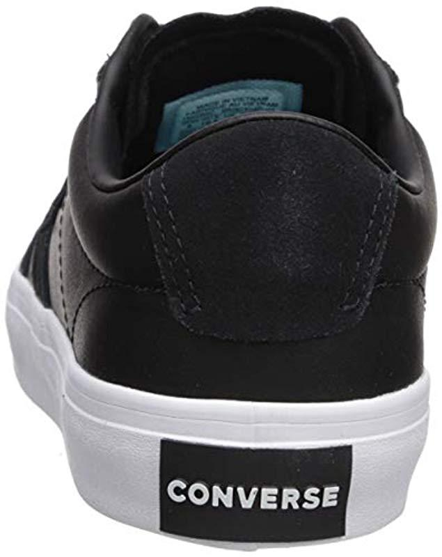d0b120531b8d Lyst - Converse Courtlandt Leather Suede Low Top Sneaker in Black for Men