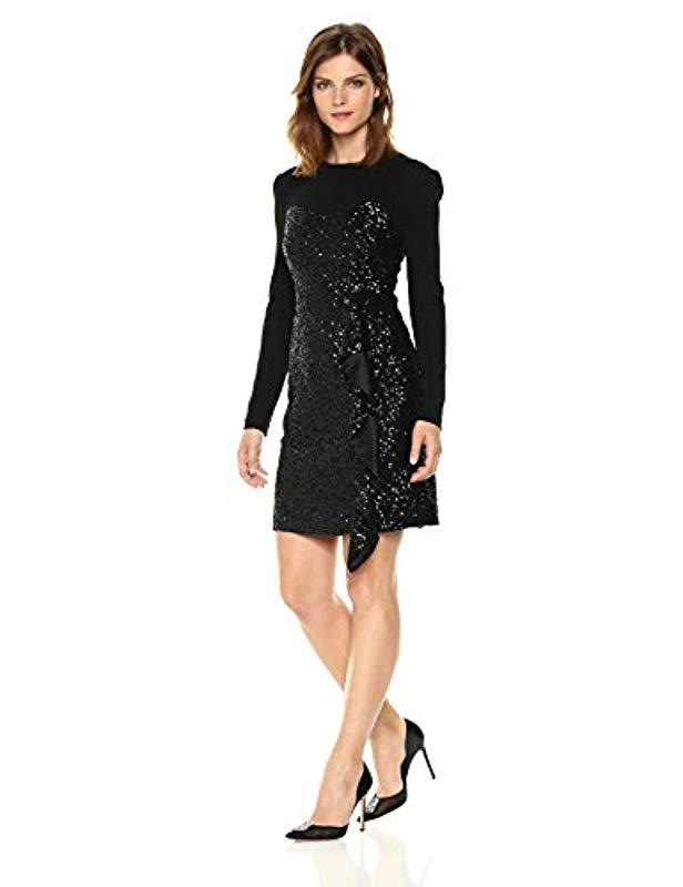 Lyst Nicole Miller Solid Sequin Ls Combo Dress In Black