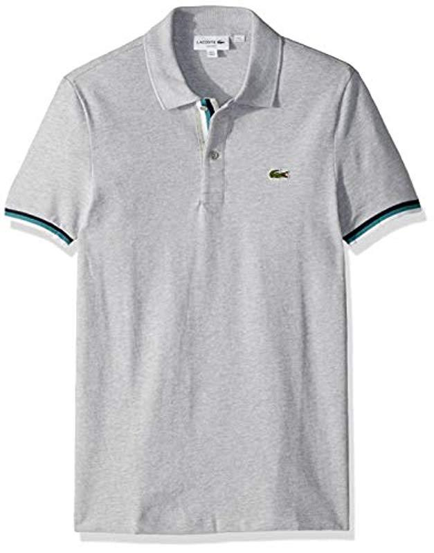 a7cc5708 Lyst - Lacoste S/s 2 Ply Pique Slim Fit Striped Bottom Sleeve Polo ...