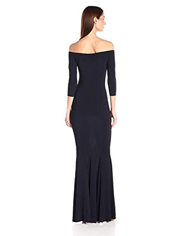 7d2ad6ede6 Lyst - Norma Kamali Off Shoulder Fishtail Gown Raw Edge in Blue
