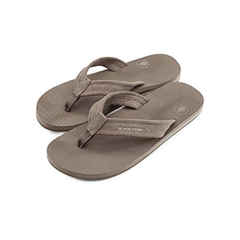 b535159a38b7 Lyst - Volcom Driftin Suede Strap Leather Flip Flop Sandal in Brown ...
