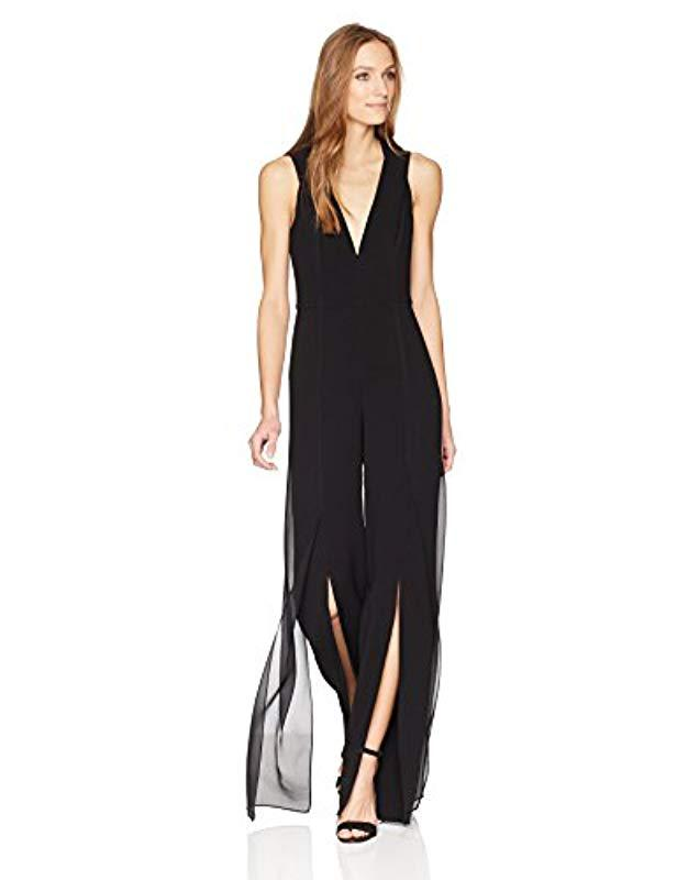 923c1aced532 Lyst - Halston Sleeveless V Neck Jumpsuit With Chiffon Panels in Black
