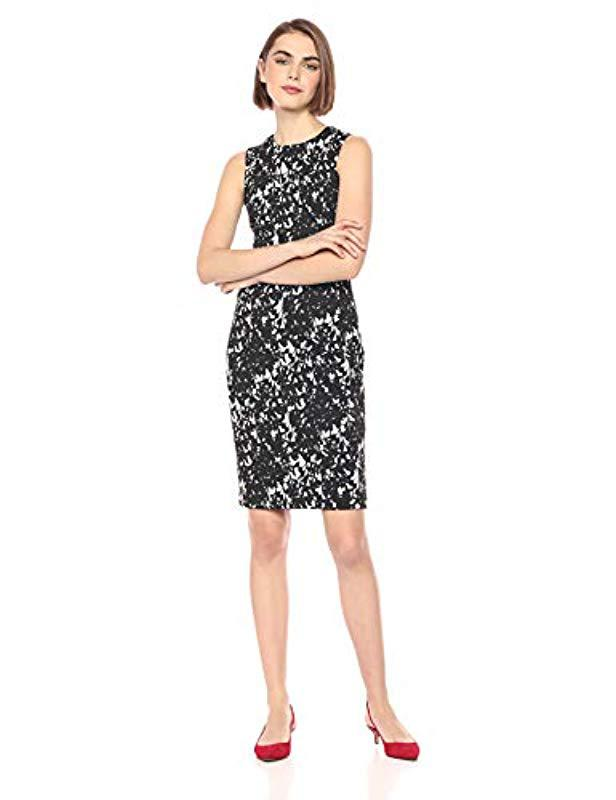 47bfbf8a4cbff Calvin Klein. Women s Black Scuba Crepe Sleeveless Princess Seam Sheath  Dress