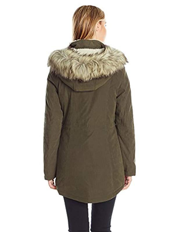 041dfba22ae Lyst - Nautica Micro Fiber Parka Anorak With Hood faux Fur Trim in Green -  Save 4%