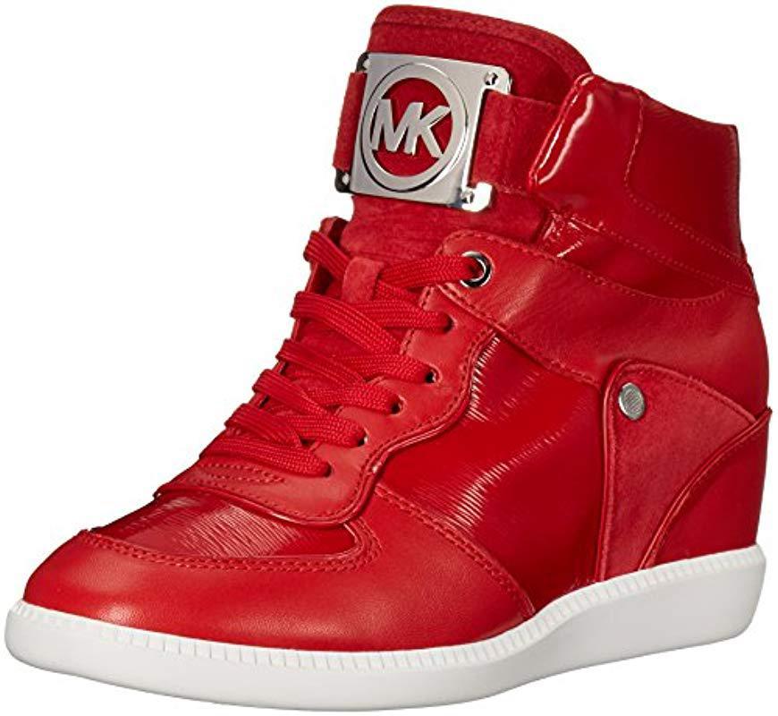 4a67d11ddf7ad Michael Kors. Women s Red Michael Nikko High-top Black Suprema Nappa Sport  Sneaker