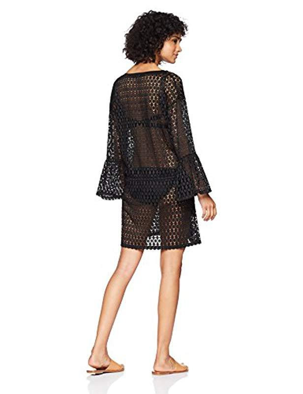 a13e9d82f9394 Lyst - Calvin Klein Crochet Swimsuit Cover Up Tunic With Bell Sleeve in  Black - Save 51%