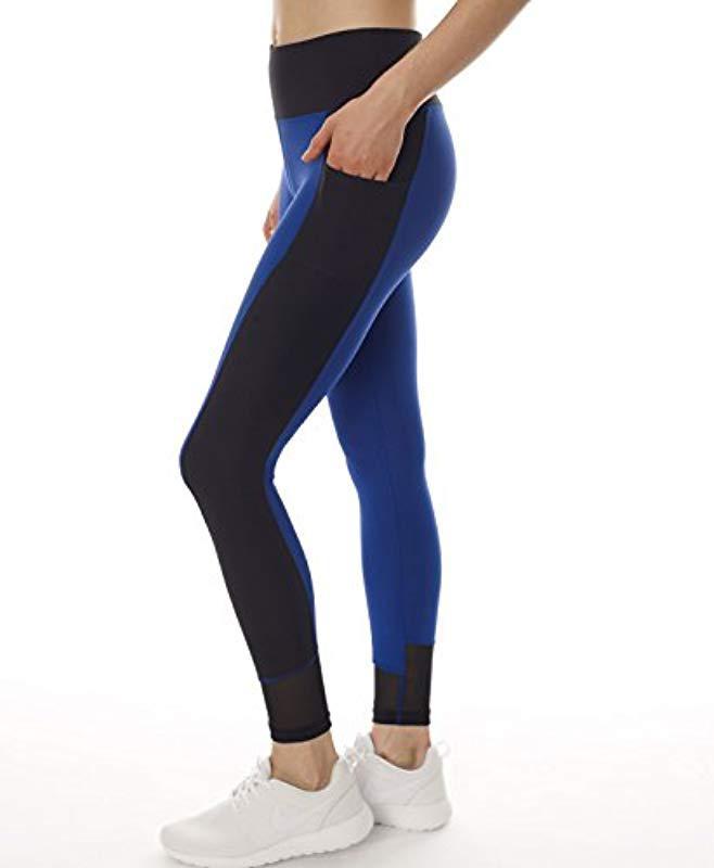30100884acba4b X By Gottex - Blue Leggings |activewear, Easy Access Pocket| Mesh Full  Length