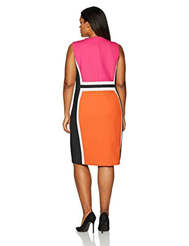 32b49544f70 Lyst - Calvin Klein Plus Size Sleeveless Color Block Sheath Dress - Save 13%