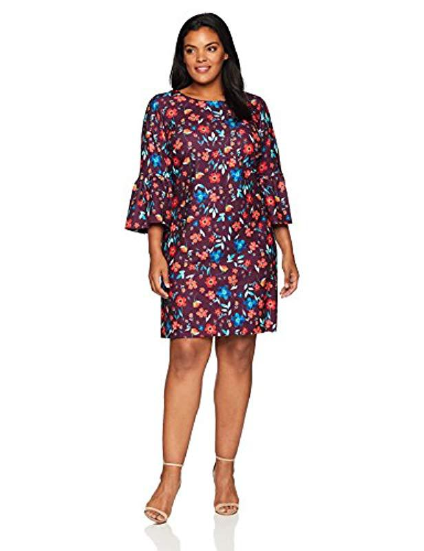 6d4084f0 Lyst - Calvin Klein Plus Size Floral Bell-sleeve Shift Dress - Save 62%