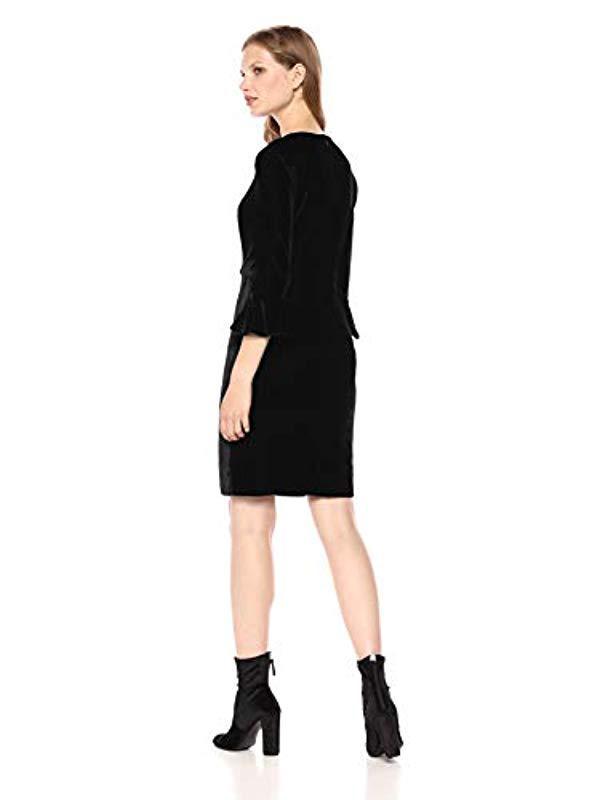 e8ee2724d86e Lyst - Donna Morgan Velvet 3 4 Bell Sleeve Sheath Dress W  Bow Detail (black)  Women s Dress in Black - Save 62%