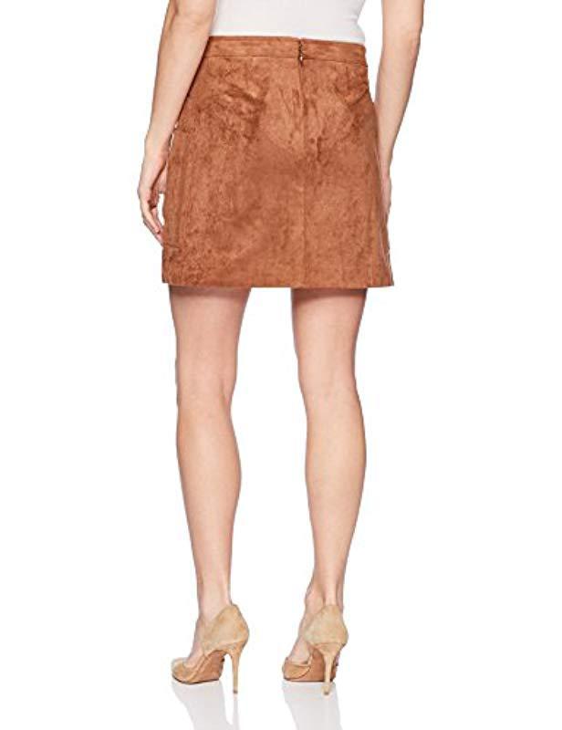 2f8ce37399 Lyst - BCBGMAXAZRIA Corinne Faux-suede Mini Skirt