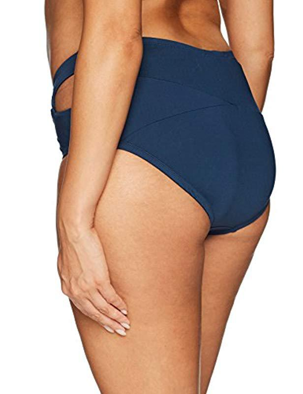 6fc8d773e8 Lyst - Jessica Simpson Plus Size Crossed Front Bikini Bottom in Blue - Save  5%