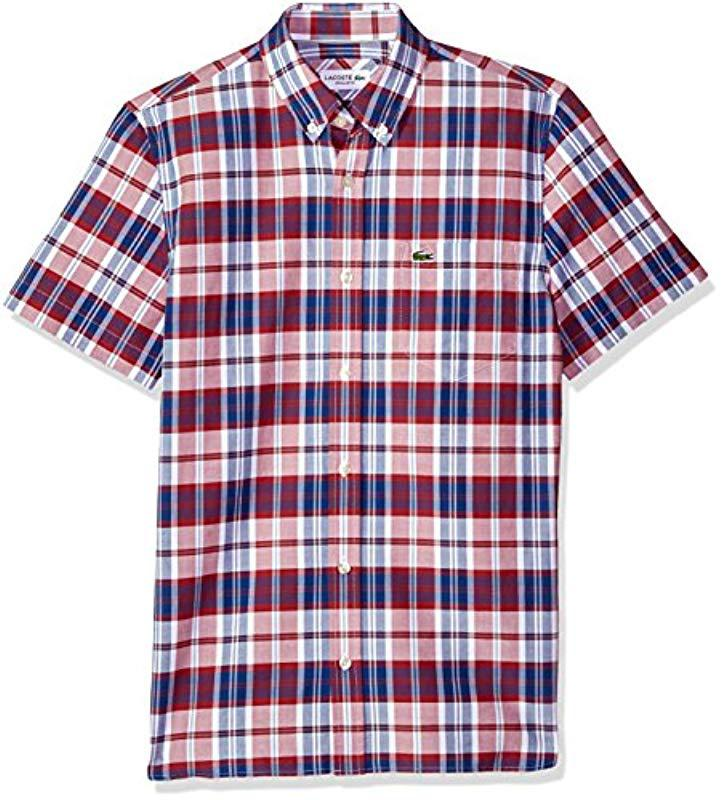 a9897d913 Lacoste. Men s Red Short Sleeve Oxford Check Button Down Collar Reg Fit Woven  Shirt ...