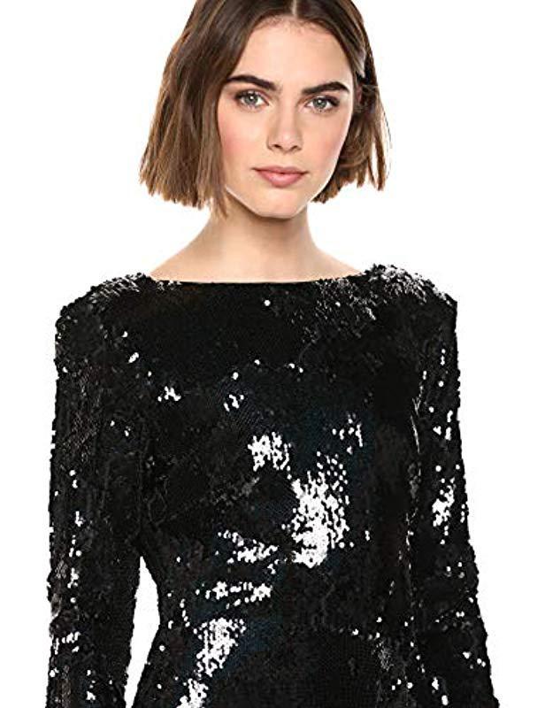 c0eb3d321775 Dress the Population Natalie Long Sleeve Stretch Sequin Midi Sheath Dress  in Black - Lyst