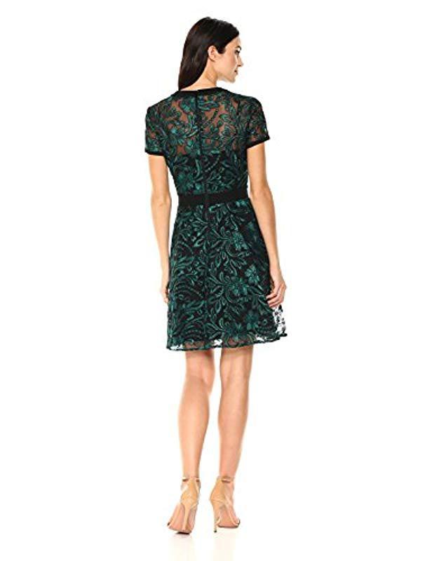 2f0da80b4b RACHEL Rachel Roy Short Sleeve Corded Lace Dress in Black - Save 55% - Lyst