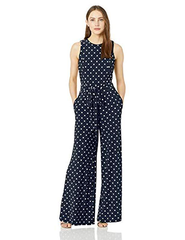 dae67f6a43d Lyst - Tommy Hilfiger Printed Jersey Jump Suit in Blue