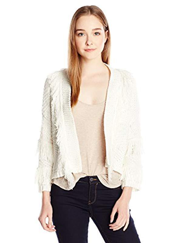 c9d373efbc1 Lyst - Jessica Simpson Bathsheba Fringe Cardigan Sweater in White