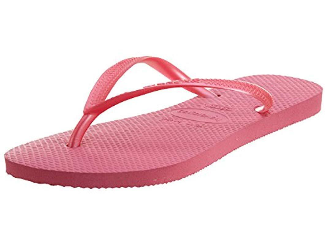 be1f446c5cc165 Lyst - Havaianas Slim Flip Flops in Pink