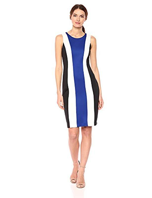 3595fca772f Lyst - Calvin Klein Sheath Color Block Dress in Blue