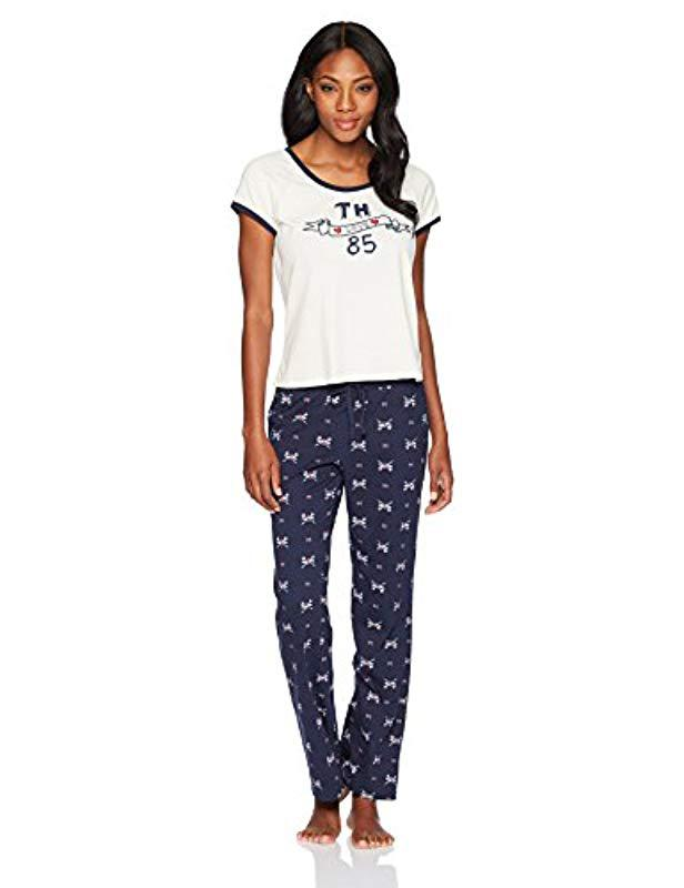 b735b8d2 Lyst - Tommy Hilfiger Top And Pant Bottom Lounge Pajama Set Pj in Blue
