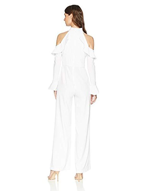 3fc9ae7f62ed Lyst - ML Monique Lhuillier Cold Shoulder Novelty Jumpsuit in White