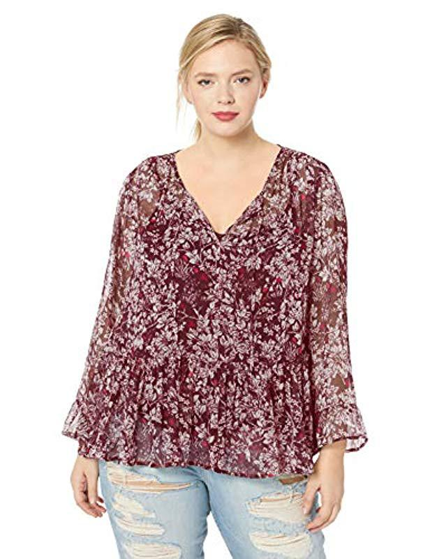 40691be5663 Lyst - Lucky Brand Plus Size Printed Peasant Top in Red