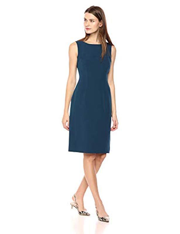6cce2c9d Lyst - Kasper Sleeveless Stretch Crepe Sheath Dress in Blue