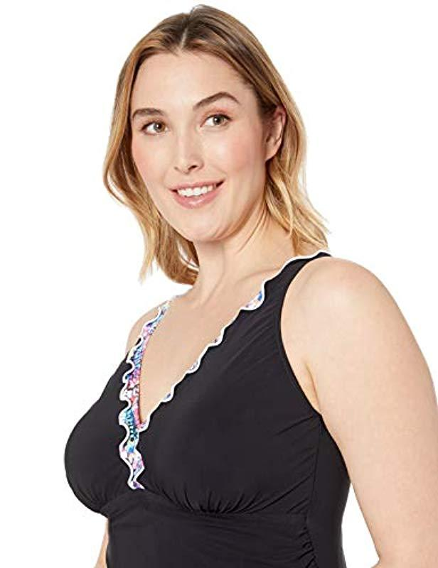 def4dfc817f51 Lyst - Gottex Plus-size Lettuce Ruffle V-neck Swimdress One Piece Swimsuit  in Black