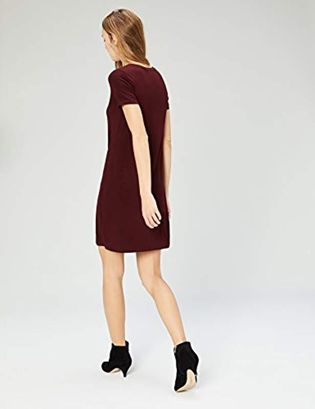 82cb05cfd18 Daily Ritual - Red Jersey Short-sleeve V-neck T-shirt Dress -. View  fullscreen